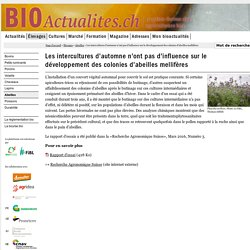 BIOACTUALITES_CH 23/03/16 Les intercultures d'automne n'ont pas d'influence sur le développement des colonies d'abeilles mellifères