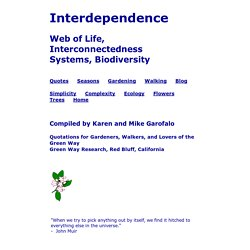 Interdependence, Web of Life, Complexity: Quotes, Metaphors, Poems, Sayings, Quotations