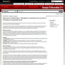 Rosemont–La Petite-Patrie – Dérogation à l'interdiction de convertir un immeuble en copropriété divise