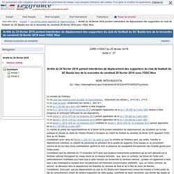 24/02/2016 Arrêté interdiction déplacement supporters SCB