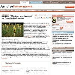 MON810: l'Efsa émet un avis négatif sur l'interdiction française