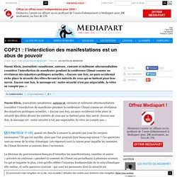 COP21 : l'interdiction des manifestations est un abus de pouvoir