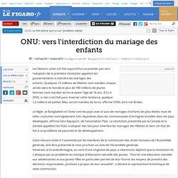 ONU: vers l'interdiction du mariage des enfants