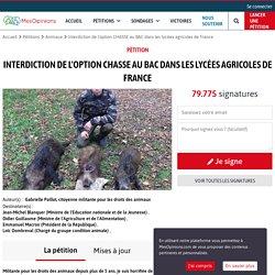 Interdiction de l'option CHASSE au BAC dans les lycées agricoles de France