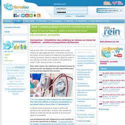 Coronavirus : Interdiction des collations en dialyse en raison de l'épidémie - position et propositions de Renaloo