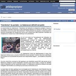 """""""Interdiction"""" du portable : Le Vademecum définitif est publié"""