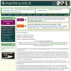 Interdictions de soumissionner Ordonnance n° 2005-649 du 6 juin 2005 ECOX0500022R