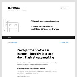 Protéger vos photos sur internet – interdire le clique droit, Flash et watermarking