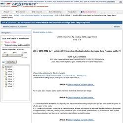 Loi n° 2010-1192 du 11 octobre 2010 interdisant la dissimulation du visage dans l'espace public