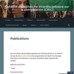Publications – Collectif de recherche interdisciplinaire sur la contestation (CRIC)
