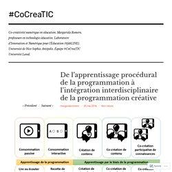 Mai 2016 De l'apprentissage procédural de la programmation à l'intégration interdisciplinaire de la programmation créative