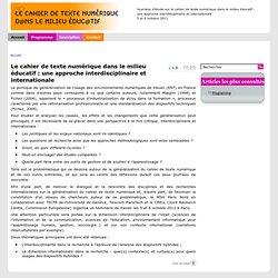 Le cahier de texte numérique dans le milieu éducatif : une approche interdisciplinaire et internationale - cahier des textes numériques