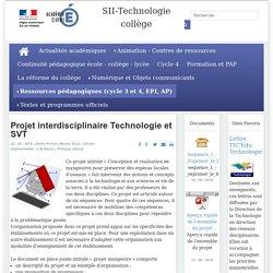 Projet interdisciplinaire Technologie et SVT