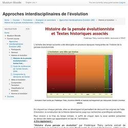 Approches interdisciplinaires Evolution (AIE): Histoire de la pensée évolutionniste + textes historiques associés