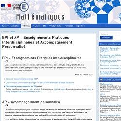 EPI et AP – Enseignements Pratiques Interdisciplinaires et Accompagnement Personnalisé - Mathématiques - Académie de Bordeaux