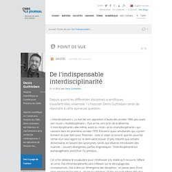 De l'indispensable interdisciplinarité
