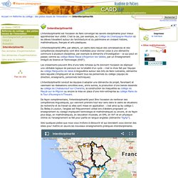 Interdisciplinarité - Centre Académique Recherche- Développement, Innovation et Expérimentation