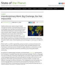 Interdisciplinary Work: Big Challenge, But Not Impossible