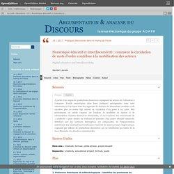 Numérique éducatif et interdiscursivité: comment la circulation de mots d'ordre contribue à la mobilisation des acteurs
