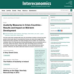 Intereconomics : Austerity Measures in Crisis Countries ? Results and Impact on Mid-term Development