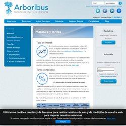 Intereses y tarifas - Arboribus: crowdlending para empresas