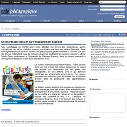 Un intéressant dossier sur l'enseignement explicite
