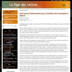 Une lecture intéressante pour travailler des inscriptions latines