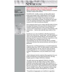 CSPI 04/11/00 Baytril (enrofloxacin) & fluoroquinolones - antibiotic-resistant Campylobacter concerns