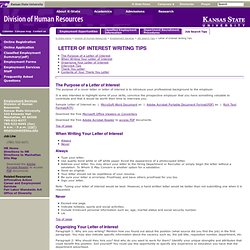 Letter of Interest Writing Tips- Division of Human Resources at K-State