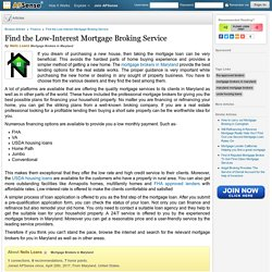 Find the Low-Interest Mortgage Broking Service