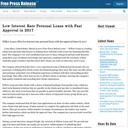 Low Interest Rate Personal Loans with Fast Approval in 2017