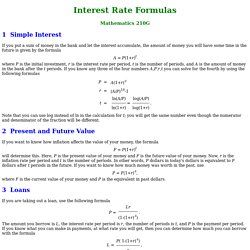 Interest Rate Formulas