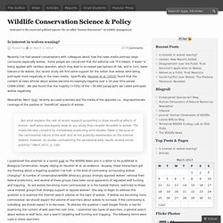 Wildlife Conservation Science & Policy