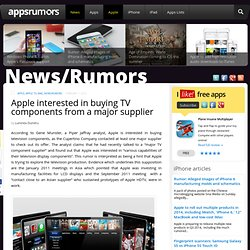 Apple interested in buying TV components from a major supplier - AppsRumors