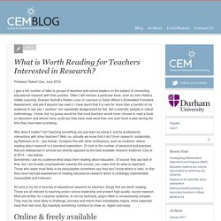 What is Worth Reading for Teachers Interested in Research?