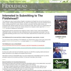 Interested in Submitting to The Fiddlehead?
