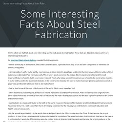 Some Interesting Facts About Steel Fabrication