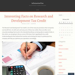 Interesting Facts on Research and Development Tax Credit