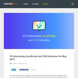 15 Interesting JavaScript and CSS Libraries for May 2017