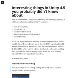 Interesting things in Unity 4.5 you probably didn't know about