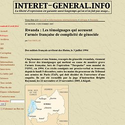 Témoignages accusent l'armée française