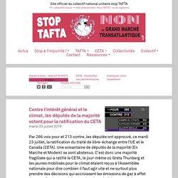 Contre l'intérêt général et le climat, les députés de la majorité votent pour la ratification du CETA