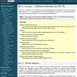24.1. Tkinter — Python interface to Tcl/Tk — Python v2.7.3 documentation