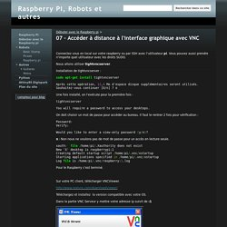 07 - Accéder à distance à l'interface graphique avec VNC - Raspberry Pi, Robots et autres