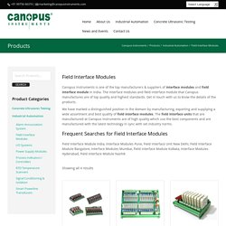 Field Interface Modules - Canopus Instruments