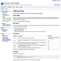 jsmin-ant-task - A custom task for Apache Ant which acts as an interface to the JSMin program.