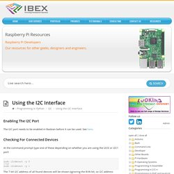 Using the I2C Interface – Raspberry Pi Projects
