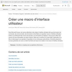Créer une macro d'interface utilisateur - Access