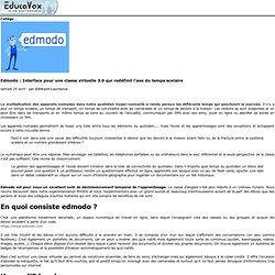Edmodo: Interface pour une classe virtuelle 3.0 qui redéfinit l'axe du temps scolaire