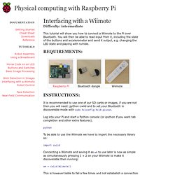 Interfacing with a Wiimote - Physical Computing with Raspberry Pi
